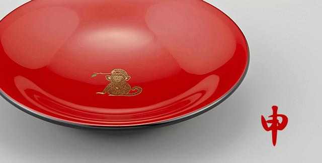 干支 申蒔絵の菓子鉢
